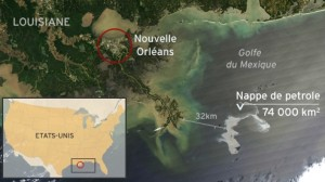 Carte de la localisation de la marée noire